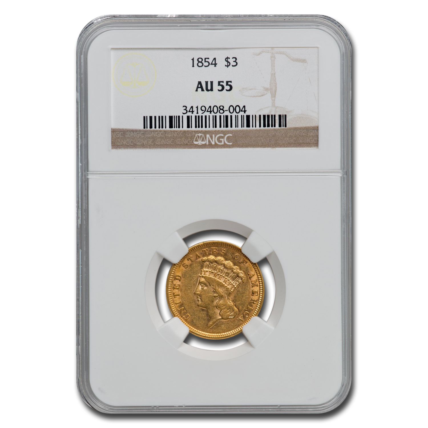 1854 $3 Gold Princess AU-55 NGC